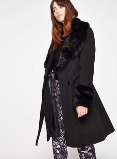 Black Faux Fur Cuff And Collar Coat