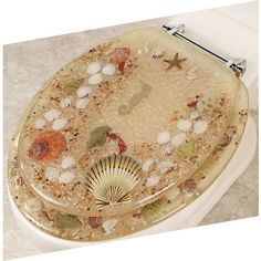 Popular Bath Elongated Jewel Shell Seashell and Seahorse Resin Toilet Seat, Beige