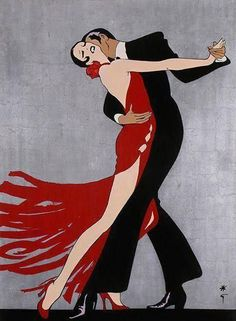 Art Deco style/ Tango Dancers/ by Rene Gruau Shall We Dance, Just Dance, Tango Art, Rene Gruau, Art Deco Posters, Inspiration Art, Ballroom Dancing, Love Art, Lady In Red