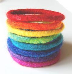 Lovely needle felted bracelets.