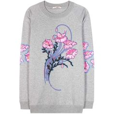Christopher Kane Bouquet Printed Cotton Sweatshirt ($430) ❤ liked on Polyvore featuring tops, hoodies, sweatshirts, christopher kane, sweatshirt, grey, gray sweatshirt, grey top, cotton sweatshirts and grey sweatshirt
