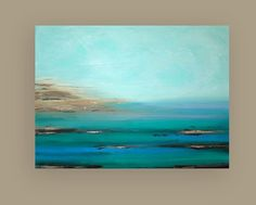 "Turquoise Ocean Painting Original Acrylic Abstract Art Titled: High Tide 7 36x48x1.5"" by Ora Birenbaum:"