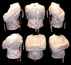I've bought this straitjacket for my Arkham Asylum incarcerated Harley Quinn cosplay! This is the costume is working on for me at the moment. Straight Jacket Costume, Jacket Drawing, Insane Asylum, Gothabilly, Arkham Asylum, Harley Quinn Cosplay, Sack Bag, Halloween Disfraces, Drawing Clothes