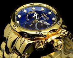 "Buy Invicta 14504 Reserve Venom ""High Polished"" All Gold Tone Blue Dial Bracelet Watch on Sale Fancy Watches, Sport Watches, Rolex Watches, Watches For Men, Fashion Shoes, Mens Fashion, Watch Sale, Men's Shoes, Brazil"
