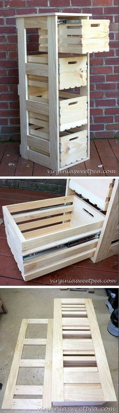 Check out this easy idea on how to build a #DIY crate cabinet with sliding doors for storage and #homedecor on a #budget #wood #project @istandarddesign