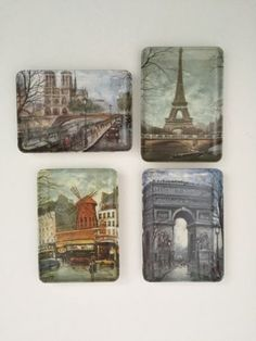 Vintage-Melamine-Tip-Trays-of-Famous-Paris-Landmarks-Made-in-Italy-Set-of-4