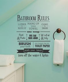 Take a look at this 'Bathroom Rules' Wall Decal on zulily today!