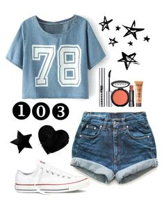"""Wk 2; $100 outfit"" by kamdanielson on Polyvore featuring Converse, LORAC and Levi's"