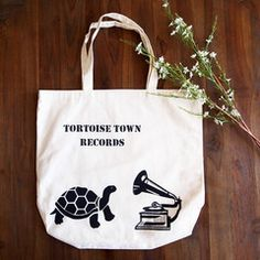 Quality cotton tote bags ideal for carrying books, shopping or as a gym, beach or uni bag. Quirky design features tortoise and gramophone. Painted Bags, Hand Painted, Uni Bag, Cotton Tote Bags, Reusable Tote Bags, Tortoise, Painting, Tortoise Turtle, Turtles