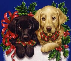 Realistic painted illustrations of animals, plants and flowers - Lori Anzalone Christmas Puppy, Christmas Animals, Christmas Cats, Holly Christmas, Christmas Wonderland, Christmas Scenes, Christmas Pictures, Christmas Paintings, Vintage Christmas Cards