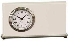 Horizontal Desk Clock, White, Silver Bezel/Base - Laser Engraved