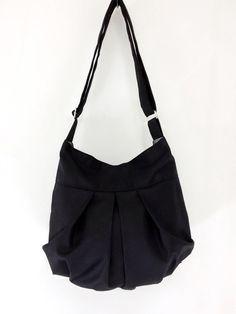SALE - 10%off Handmade Canvas Bag/ Diaper bag/ Shoulder bag/ Hobo bag/ Tote/ Messenger/ Purse/ Everyday bag - Black - Mandy