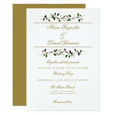 Christmas Holiday Winter Wedding Invitation - gold wedding gifts customize marriage diy unique golden