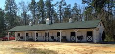 12x84 Shedrow horse barn with 8' Overhang. Includes 7 - 12x12 stalls.