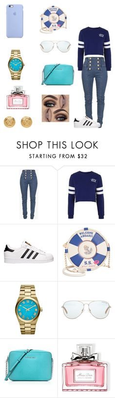 """"" by dajahknox ❤ liked on Polyvore featuring Balmain, Topshop, adidas, Betsey Johnson, Michael Kors, MICHAEL Michael Kors, Christian Dior and Versace"