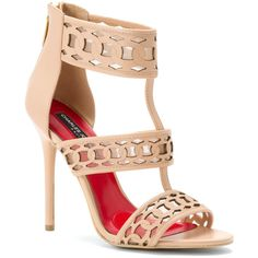Charles Jourdan Women's Layton Sandals ($165) ❤ liked on Polyvore featuring shoes, sandals, nude, slim shoes, charles jourdan shoes, laser cut shoes, back zip sandals and high heel sandals