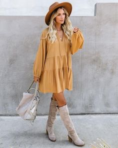 //VICI Exclusive// Our From Autumn To Spring Cotton Babydoll Dress will transition with you for season to come! The oversized babydoll silhouette comes in a mustard yellow crepey fabrication. Country Chic Outfits, Boho Outfits, Trendy Outfits, Dress Outfits, Fall Outfits, Fashion Outfits, Babydoll Dress Outfit, Country Fashion, Flowy Summer Dresses