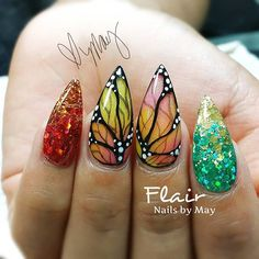 Butterfly wings!!! #nailsbymay #butterflies glitter Butterfly Nail Art, Butterfly Wings, Fabulous Nails, Gorgeous Nails, Stiletto Nails, Coffin Nails, Cute Nails, My Nails, Floral Nail Art