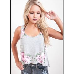 Pixel Rose Print Trapeze Muscle Tank Top Perfect top for your inner flower child! Last two in L. Desert Rose Apparel Tops Tank Tops
