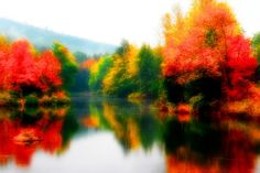Lake in Woodstock Vermont Blurred Autumn Fine by LifeTravelPhotos