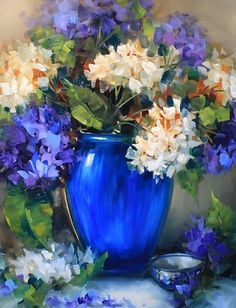 New Day Blue Hydrangeas by Nancy Medina Palette Knife/Oil ~ 20 x 16