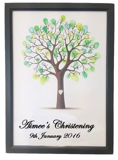 Personalised Custom Printed Christening Baptism Gift Fingerprint Tree Guest Book Gift Decoration Game FPT110(Etsy のFancyPantsStoreLtdより) https://www.etsy.com/jp/listing/243668153/personalised-custom-printed-christening