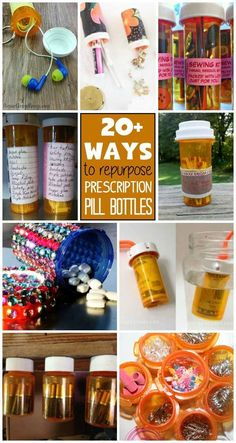 Reuse those empty prescription pill bottles in all sorts of ways. From organizing to making cookies. See how to use your empty pill bottles! bottle crafts Prescription Pill Bottles: ways to use empty pill bottles Empty Medicine Bottles, Medicine Bottle Crafts, Reuse Pill Bottles, Pill Bottle Crafts, Recycled Bottles, Plastic Bottle Reuse, Plastic Coffee Containers, Reuse Containers, Empty Bottles