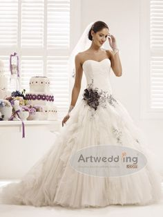 Floral Appliqued Tulle Ball Gown