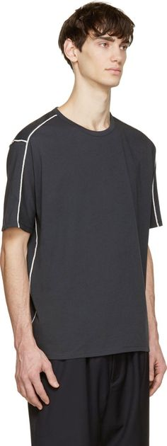 3.1 Phillip Lim Washed Black Contrast Stitch T-Shirt