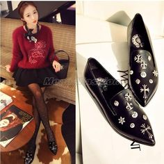 Womens Black Genuine Cow Leather Pointed Toe Punk Gothic Metal Cross Pumps Shoes