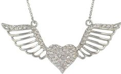 """Trendy Crystal Embellished Heart with Open Flying Angel Wings Silver Plated Necklace Necklaces by Glamour Girl Gifts. $21.99. Lead and nickel safe. Comes packaged ready for gift-giving. Silver plated. Chain is 18"""". Crystal embellished heart and wings measure just over 2-1/2"""" wide. Save 33%!"""