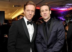 Wolf Hall's Damian Lewis and Outlander's Tobias Menzies looked handsome at the Warner Bros. bash. See more Golden Globes afterparty pics here!