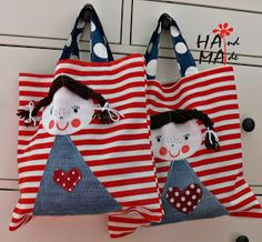 ♥ Dílna Hama ♥: Do školky Cute Sewing Projects, Coin Couture, 31 Bags, Denim Crafts, Simple Bags, Fabric Bags, Quilted Bag, Baby Kind, Girls Bags