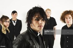 STUDIO Photo of Frank IERO and Gerard WAY and Ray TORO and MY CHEMICAL ROMANCE, L-R: Mikey Way, Frank Iero, Gerard Way, Bob Bryar, Ray Toro photographed at a studio in Camden Town, London 2005 (Naki)