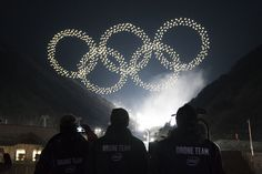 Olympics in the 21st century. Over 1,200 drones form to display the Olympic symbol. It is as ingenious as it is loud.