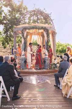 Intimate Indian wedding in the vineyard and reception taking place inside the Estate Cave of the Meritage Resort Napa in California.