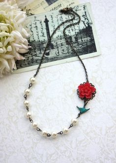 A Red Sakura Flower, Teal Flying Swallow Bird, Ivory Pearls Vintage Inspired Necklace. Wedding,Bridal Gift Party. Bridesmaid Gift. For Wife.