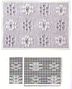 Flower Lace Knitting Stitches ~ Lace Knitting Stitch - Her Crochet Lace Knitting Stitches, Crochet Stitches Patterns, Knitting Charts, Crochet Chart, Lace Patterns, Knitting Designs, Knitting Yarn, Stitch Patterns, Tricot D'art