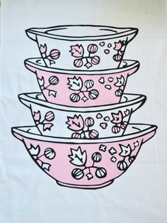 Pink Pyrex, Vintage Fans, Tea Towels, Cinderella, Handmade Items, Things To Come, Retro, Prints, Cotton