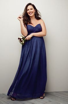 'Laura' a Ruched Sweetheart Silk Chiffon Gown (Shown in Midnight Blue) by Donna Morgan at Nordstrom