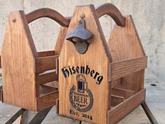 Wooden Beer tote Beer Carrier - Personalized gift - Rustic valentines gift for him - Super Bowl decor - Tailgating