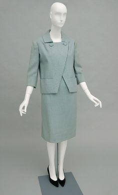 Carven Suit  French Late 1950s  Light blue and gray wool houndstooth twill