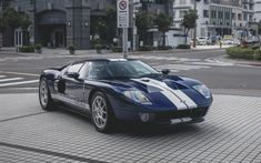 Download wallpapers Ford GT, blue sports coupe, USA, sports car, Ford