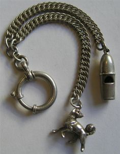 Antique Victorian Silver Watch Chain Chatelaine w Whistle Works Dog Charm