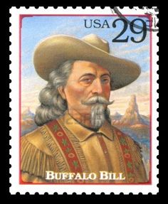 London, UK – February 5, 2012: USA postage stamp of 1994 showing a portrait of Buffalo Bill from the Legends of the West series Stock Photo