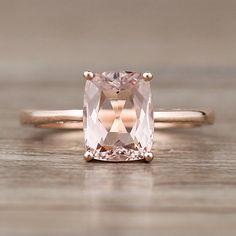 7x9mm Long Cushiom Cut Morganite Engagement Ring Natural Morganite Ring 14k Rose Gold Morganite Ring Unique Wedding Ring Gemstone Ring - Vogue Gem