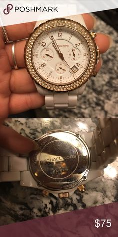 White Michael Kors watch Very cute! I love this watch just don't wear it enough. White and ROSE gold. Michael Kors Accessories Watches
