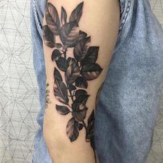 Simple is beautiful! leaves by @nina_laine_tattoo #leaf #leaves #blackandgrey #ninalaine #lrtattooandartalliance