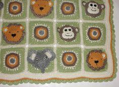 Animal Safari Crochet Afghan Blanket - Monkey, Elephant, Lion Motifs PDF Pattern