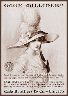 Vintage Advert for Gage Millinery & Hats 1912